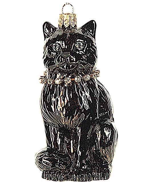 Katze Schwarz mit Strasshalsband