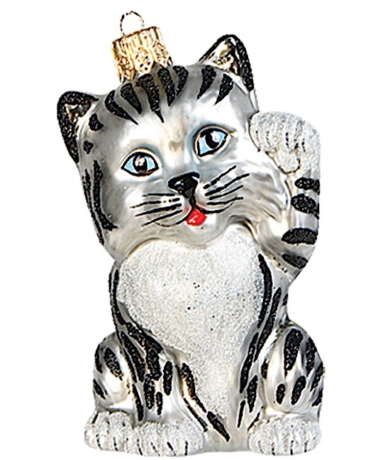 Katze Tiger Silbergrau winkend