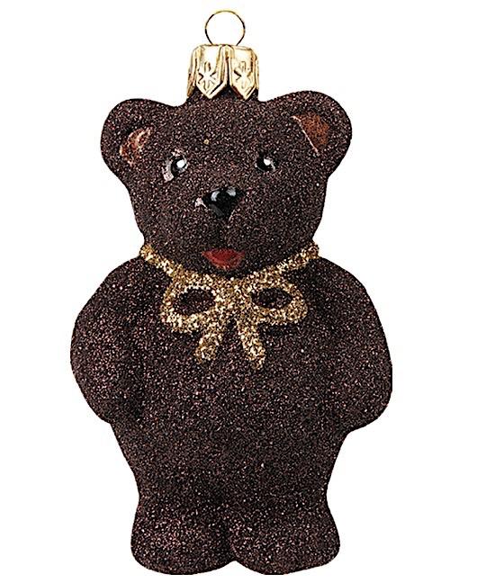 Teddybär braun mit goldener Masche