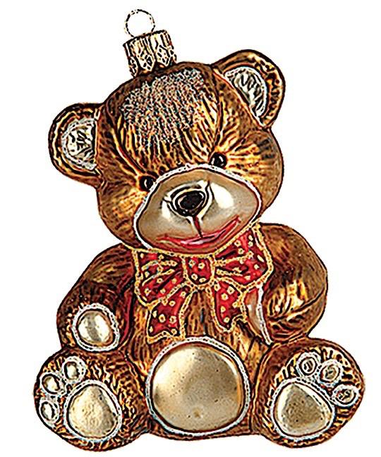 Teddybär braun sitzend mit rote Masche